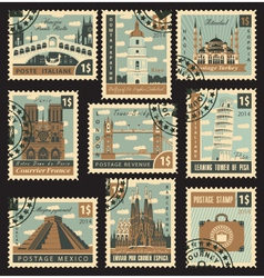 postage stamp city vector image