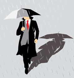 Rain man with umbrella vector