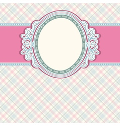 round label on color checked background vector image