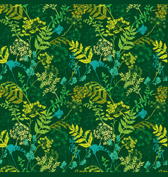 seamless pattern with wild flowers and grass vector image
