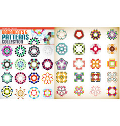 set of colorful geometric symmetric shape vector image vector image