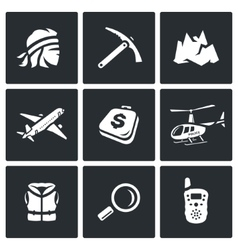Set of mountain rescue icons man ice ax vector