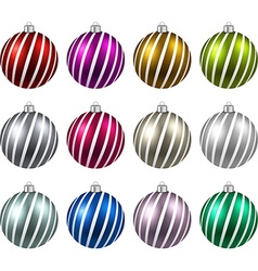 Set of realistic color christmas balls vector image vector image