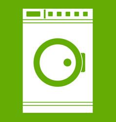 Washing machine icon green vector