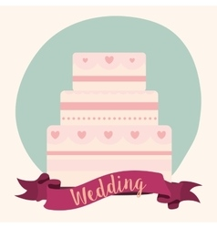 Cake ribbon wedding marriage icon graphic vector