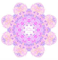Amazing mandala of lilac flowers vector