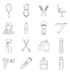 Hairdressing icons set outline style vector