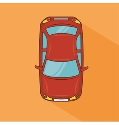 Red car top view transport design vector