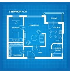 Apartment floor plan blueprint vector