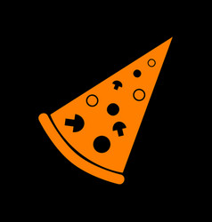 pizza simple sign orange icon on black background vector image