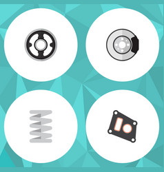 Flat component set of metal crankshaft belt and vector