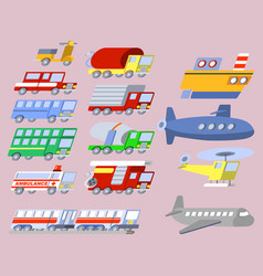 flat skew transportation icon set vector image