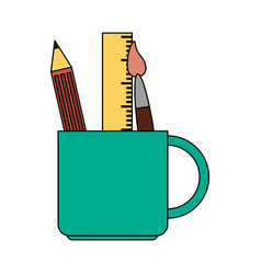 color image cartoon pencil holder with brush and vector image