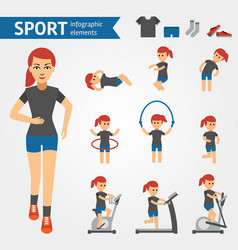Jogging woman sport and exercises infographic vector