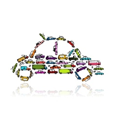 Car shape made from transport for your design vector image