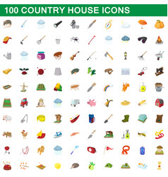 100 country house icons set cartoon style vector