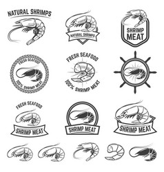 Set of the shrimps meat labels isolated on white vector