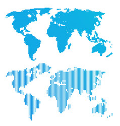 Line blue world map vector