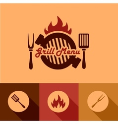 Grill menu design elements vector