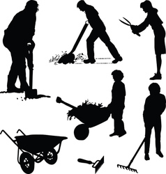 Gardeners and tools vector