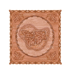 Oak leaves and acorns woodcarving hunting theme vector image