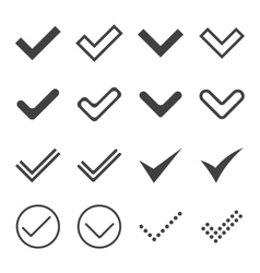 Set of simple icons ticks check marks vector