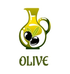 Glass jar with olive oil vector
