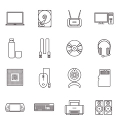 Computer hardware and accessories icon set vector