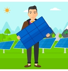 Man holding solar panel vector