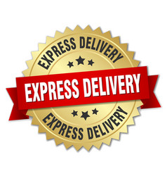 Express delivery 3d gold badge with red ribbon vector