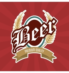 Beer label icon drink and beverage design vector