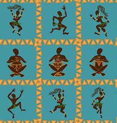 Seamless pattern of dancing African aborigines vector image