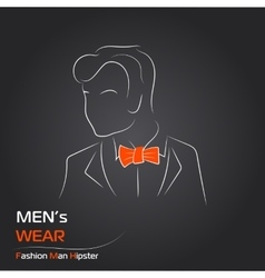 Man with orange butterfly on black vector