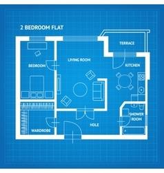 Apartment floor plan blueprint vector