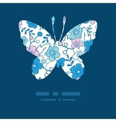 blue and pink kimono blossoms butterfly vector image