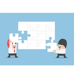 Businessman help each other to assemble blank jigs vector image vector image