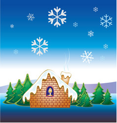 christmas snow house vector image vector image