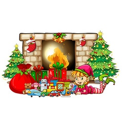 Christmas theme with elf and toys by fireplace vector