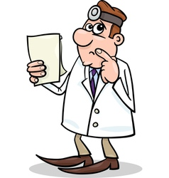 concerned doctor cartoon vector image