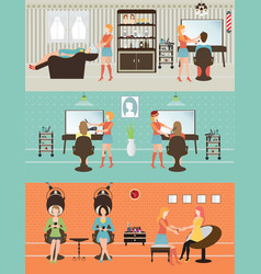 customers in beauty salon vector image