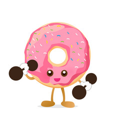 Donut cartoon holding dumbbell with happiness vector