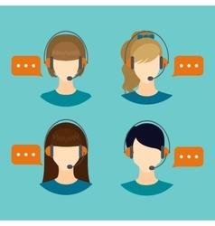 Female call center avatar icons vector