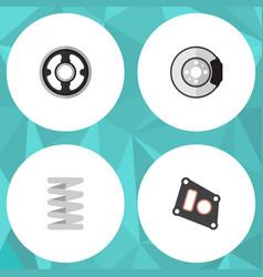 Flat component set of metal crankshaft belt and vector