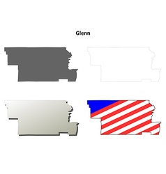 Glenn county california outline map set vector