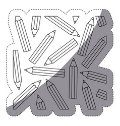 Grayscale contour sticker with pattern of pencils vector