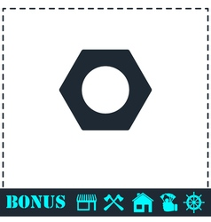 Hex nut icon flat vector image
