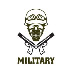 Military emblem with skull and guns vector