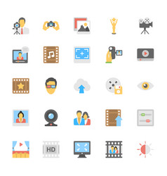 Multimedia flat colored icons 7 vector