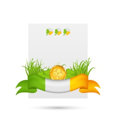 natural card with coin clovers grass and ribbon - vector image