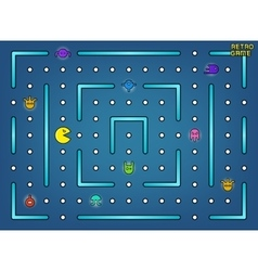 Pacman like video arcade game with ghosts vector image vector image